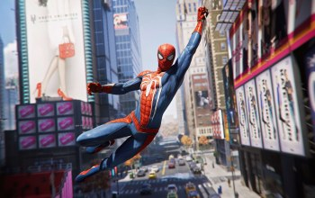 Screenshot,buildings,hero,скриншот,superhero,маска,костюм,Город,insomniac games,Marvel's Spider-Man,питер паркер,Spider-Man:,здания,реклама,Марвэл,web,Человек-паук,playstation 4,city,комиксы,ps4,game,летит,Марвэл,Advertising,супергерой,comics,peter parker,costume,igra,герой,паутина,mask