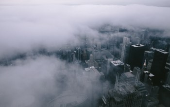 chicago,clouds,landscape,architecture,fog,city