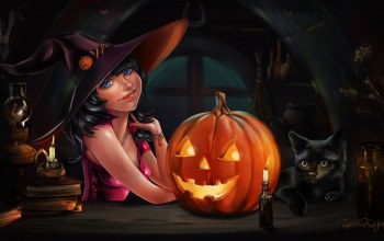 witch,candle,cat,witch hat,Halloween,pumpkin,black cat,holiday,blue eyes,Hat,books