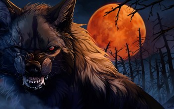 #night,red eye,Animal,wild,trees,artwok,creature,digital art,хоррор,#moon,fantasy,fantasy art,dark,wolf,Concept Art,red moon,Jaws,trunks