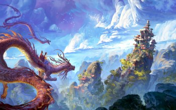 artwork,hills,натуре,chinese dragons,fantasy art,fantasy landscape,fantasy,lok du,sky,xianxia,clouds,house,landscape,china, castle,Dragons,digital art,pagoda