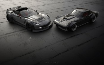 Corvette C2,машинa,рэтро,by Rostislav Prokop,C7 vs C2,Chevrolet Corvette C2,chevrolet corvette c7,corvette c7,две,corvette,Concept Art,avto,Rostislav Prokop,chevrolet, рендеринг