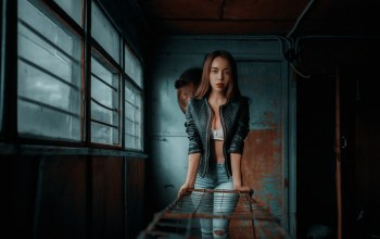 portrait,jacket,straight hair,leather jackets,Red lipstick,open jacket,Cleavage,photo,lipstick,Face,mouth,photographer,torn jeans,model,girl,pants,brunette,looking at viewer,looking at camera,lips,blue eyes,Andrey Metelkov,long hair,brown hair,Jeans,torn pants