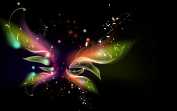 vector,leaves,artwork,shapes, рендеринг,Abstract,Butterfly,digital art,black background,simple background
