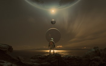 digital art,planets,Sci-Fi,science fiction,Space suit,fantasy,Solar System,astronaut,mountains,artwork,futuristic