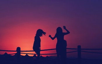 silhouettes,Sunset,girls