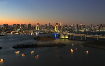 dusk,reflections,Odaiba,Japan,Twilight,rainbow bridge,bridge,tokyo,Rainbow Town,Sunset