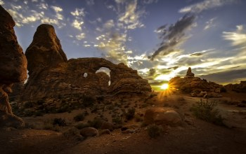 Arches National Park, закат,сша,юта