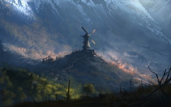 арт,Forgotten windmill,fantasy,мельница,Пейзаж,арт,Denis Loebner,лес,by Denis Loebner,windmill,Забытая мельница,горы