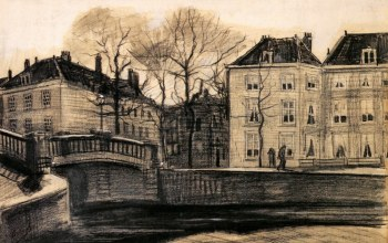 drawings,The hague,Винсент ван Гог,on the Corner of Herengracht-Prinsessegracht,Bridge and Houses
