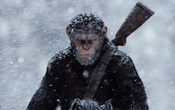snown,horse,shipanzee,War For The Planet Of The Apes,Cesar,monkey,andy serkis,Planet of the Apes,saru,gun,близзард,weapon,Shotgun