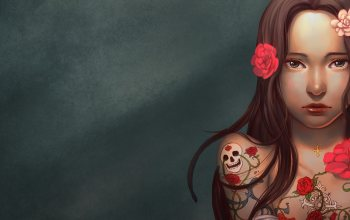 Skull,artwork,long hair,minimalism,rose,mouth,digital art,brunette,brown eyes,tattoo,lips,simple background,girl,flowers