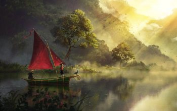 artwork,boat,painting,sailboat,river,арт