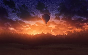 air balloon,Twilight,dark,wallpaper,Sunset,арт
