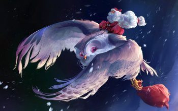 Owl,santa claus,artwork,fantasy,digital art,Thomas Chamberlain - Keen,christmas,snow,winter,артист,flying,баг