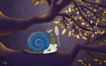 """digital art,yellow,illustration,painting,leaves,""""Anastasia Skachko"""",Snail,funny,4k ultra hd background,branches,magnifying glass,animals,magnifier,арт"""