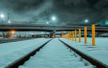 "winter,city,usа,train tracks,lights,snow,4k ultra hd background,railway,tracks,""Salt Lake City"",utah,clouds,bridge,#night,rails"