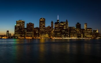"manhattan,Cityscape,buildings,city,reflection,""Hudson river"",skyscrapers,coast,water,city ​​lights,""New York City"",4k ultra hd background,architecture,Nyc,metropolis"