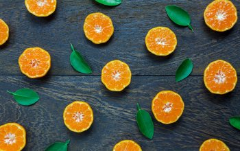 fruit,фон,оранжевый,background,ломтики,mandarin,orange,листья,slice,mandarin