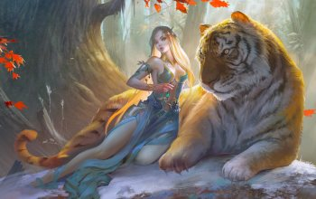 fantasy art,blonde,breast,dress,trees,fantasy,Cleavage,elf,artwork,feline,Tiger,girl,fantasy girl,chest,forest,Animal
