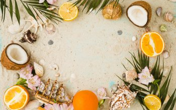 fruit,coconut,vacation,кокос,ракушки,flowers,beach,Seashells,pesok,sand,orange,лето,summer