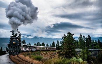 train,steam,Kettle valley,landscapes