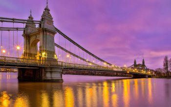 Вечер,Hammersmith Bridge,река,london,River Thames,england,london,Aнглия,мост,фонари,Мост Хаммерсмит,Река Темза