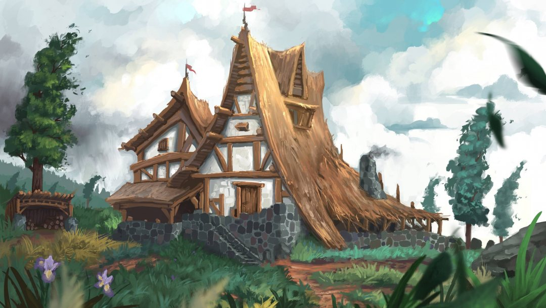 house,натуре,clouds,sky,illustration,chalet,pathway,grass,Plants,арт,wall,trees,Jeremy Adams,flowers