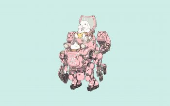 Machine,BABY GEAR,minimalism,bunny,baby,gun,robot,Ren Wei Pan,арт,illustration,fantasy,Rabbits,weapon,character,girl,armor,style