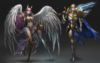 angel,swords,style,girl,minimalism,fantasy,background,арт,ман,Rena Illusion,«warrior»,wings,character
