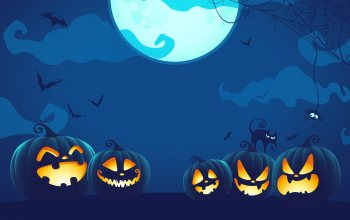pumpkins,blue,digital art,Black Cat,holiday,#moon,watermarked,bats,spider web,cat,Halloween,Spider,Spooky,#night