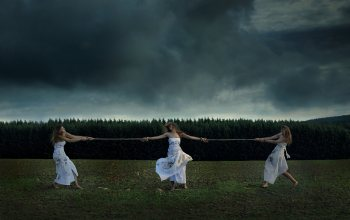 Dark sky,girls,dress,grass,Dead leaves,forest,mood,dirt,rope,moods,натуре,trees,situation,clouds