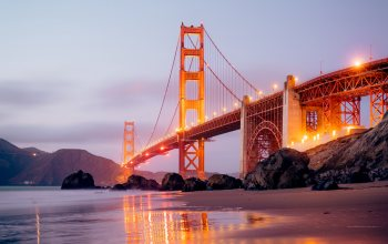 "San-francisco,architecture,backlight,lights,city,reflection,structure,dusk,4k ultra hd background,ocean,california,Sunset,sand,rocks,landscapes,fog,bridge,shoreline,""Golden Gate Bridge"",construction,usа,beach,#Sea,Twilight"