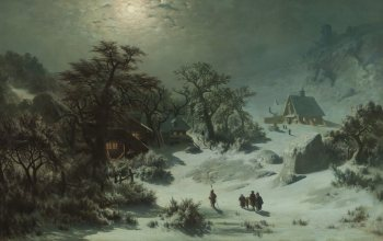 Адольф Косарек,oil on canvas,Национальная галерея в Праге,1857,чешский живописец,Czech landscape painter,Зимняя ночь,Adolf Kosarek,Zimní noc,National Gallery in Prague,Winter night