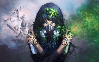 girl,hood,artwork,spray,натуре,ecology,Birds,digital art,blue eyes,graffiti,flowers,mask,painting,fantasy art,Dove,yuumei,White,fantasy girl,Plants,gas mask, green,арт