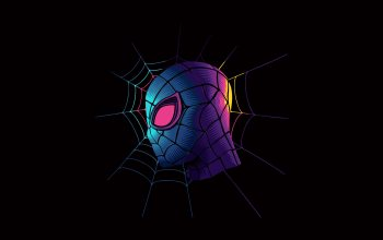 colorful,Peter Parker,black background,simple background,fantasy,Spider-Man:,superhero,minimalism,Марвэл,mask,spiderweb,fantasy art,digital art,artwork
