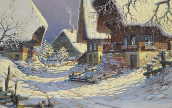 Todtnau - Verschneites Schwarzwalddorf,немецкий живописец,Todtnau - Snowy Black Forest Village,oil on canvas,Тоднау - заснеженная деревня Шварцвальда,Karl Hauptmann,German painter,Karl Hauptmann