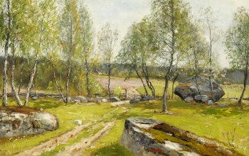 Swedish painter,шведский художник,Birches at the yard,Björkar vid gärdsgård,Олоф Хермелин,Березки во дворе,Олоф Хермелин,1900