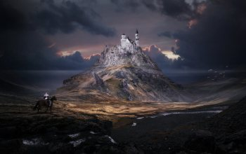 арт,knight,landscape,замок,здание,Fiction,Tobias Roetsch,by Tobias Roetsch,FORGOTTEN WORLD SCHWANSTEIN,рыцарь,Замок Нойшванштайн,Gora,всадник,Schloss Neuschwanstein,Фантастика,building,архитектура,architecture,mountain,пейзаж,rider,арт,нойшванштайн