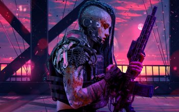 Retrowave,Sci-Fi,Purple,Women Warrior