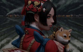 city,illustration,buildings,артист,artwork,дог,Doge,fantasy,арт,painting,mask,asian,girl,guweiz,digital art