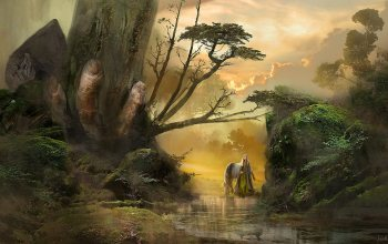 fantasy,натуре,landscape,artwork,horse,forest,fantasy art,tree,knight,fantasy landscape,fingers,Kamila Szutenberg,river