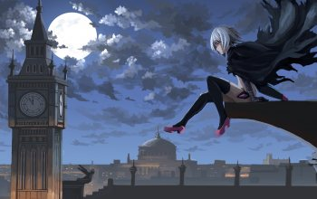 Jack the Ripper,Assassin of Black,london,Fate Series,Fate/Apocrypha,cape,#night,artwork,#moon,clouds,anime girl,sky,аниме,girl,Биг-Бэн