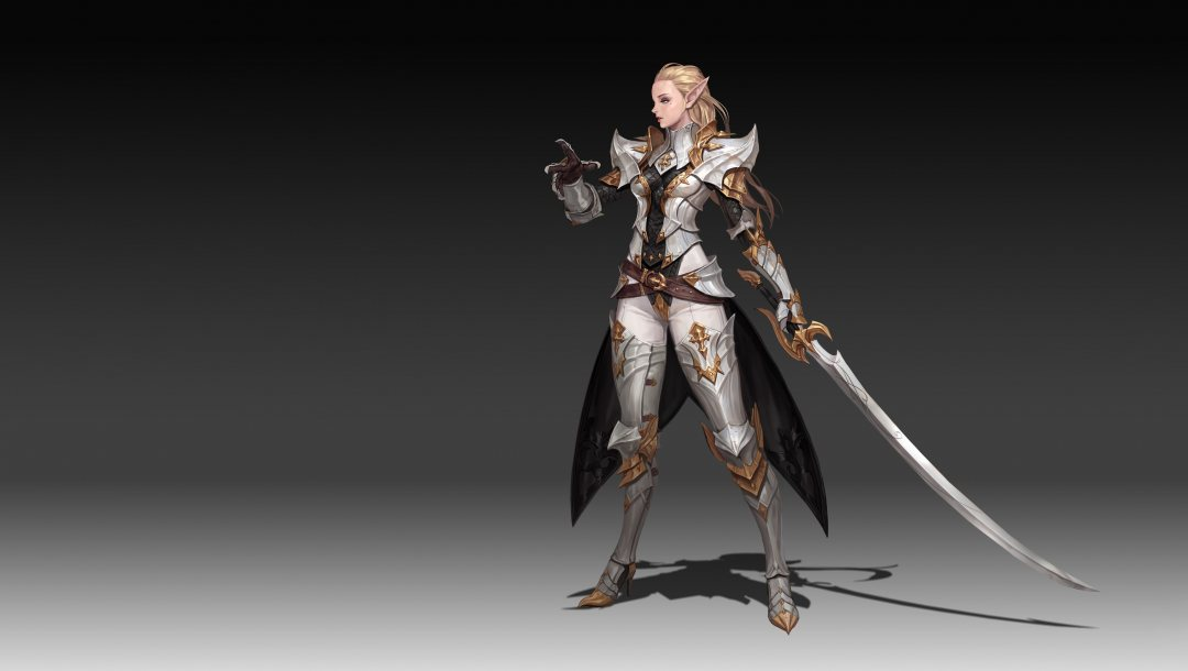 girl,minimalism,арт,background,Melee Weapons,Noble Elf,fantasy,illustration,character,sword,elf,style,Junq Jeon,armor,weapon