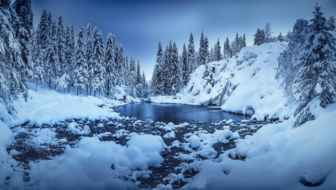 blue hour,canyon,winter,snow,finland,river