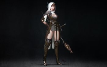 character,sword,fantasy,illustration,girl,арт,style,staff,wizard,figure,InHyuk Lee