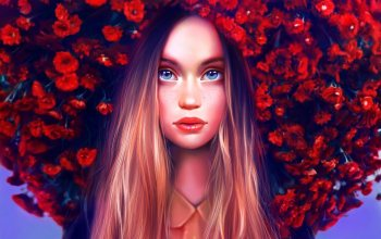 арт,eyes,girl,Face,lips,flowers,beautiful,Maka Zedelashvili