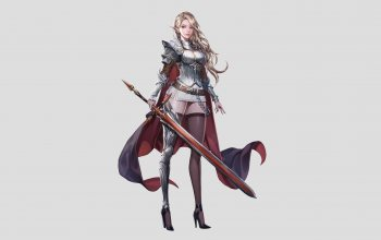 elf,style,girl,арт,fantasy,jangwon park,character,sword,figure,illustration