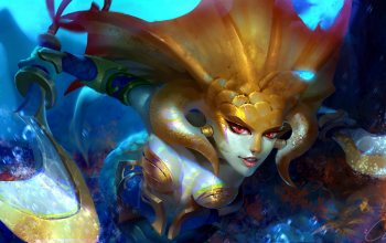 weapon,Mermaid,digital art,red eyes,boobs,artwork,Cleavage,Naga Siren,fantasy,breasts,fantasy art,underwater,creature,game,saber,Dota 2