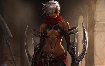 daggers,character,illustration,Assassin of Persia,girl,tattoo,fantasy,style,Junq Jeon,Melee Weapons,арт,weapon